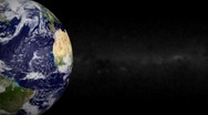 Stock Video Footage of Blue Marble Earth Left and Galaxy Loop