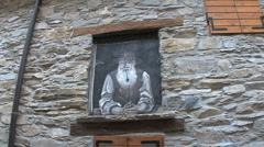 Italy Piedmont village old man painting Stock Footage