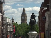 Stock Video Footage of Trafalgar Square Zoom out from Big Ben, London England GFSD