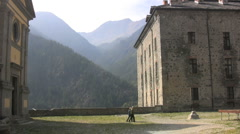 Italy Piedmont mountain view from Forte di Fenestrelle  Stock Footage