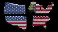 Ship and American containers map flag separating animation Stock Footage