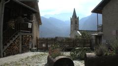 Italy Piedmont church in village Stock Footage