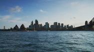 Sydney Australia - city scape evening pan to bridge Stock Footage