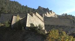 Italy Forte di Fenestrelle walls zoom Piedmont Stock Footage
