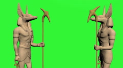 Anubis Statue pair green screen Stock Footage