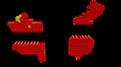 Chinese containers map flag converging animation Stock Footage
