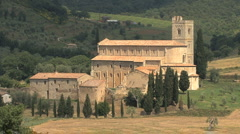 Tuscany Abbey of Sant' Antimo Stock Footage