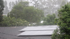 Solar Panel in the Rain - stock footage