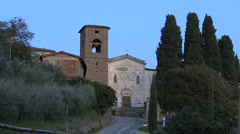 Italy church in hill town Stock Footage