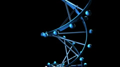 DNA Strand - Rotating 3D Model Blue Spinning Stock Footage