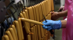 Production of hot dogs in a factory Stock Footage