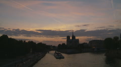 Zoom into Sunset Notre Damn Stock Footage
