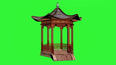 Pavilion Asian Green Screen Stock Footage
