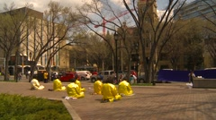 Religion & faith, Falun Dafa (Falun Gong), practicing, wide shot, #3 Stock Footage