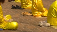 Stock Video Footage of Falun Dafa (Falun Gong), practicing, tight shot tight on shoes