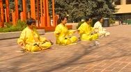 Stock Video Footage of Falun Dafa (Falun Gong), practicing, medium shot, #
