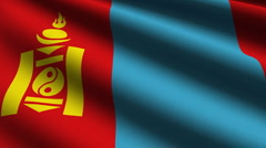 Mongolia flag close up Stock Footage