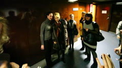 Fans photographed with Russian pop singer Katya Lel after TV show Stock Footage