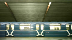 Train stands and leaves on subway station Cherkizovskaya Stock Footage