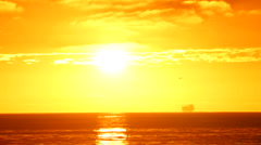 Oil Platform 04 - Sunset real time Stock Footage