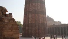 Qutab minar monument in Delhi India Stock Footage