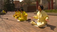 Stock Video Footage of Falun Dafa (Falun Gong), practicing, wide shot, #2