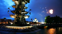 Bottom illuminated monument to Peter Great and right in sky fireworks Stock Footage