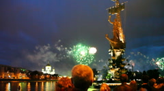 People watch bright fireworks Stock Footage