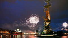 Bright fireworks of devoted to Day of Victory in Great Patriotic War - stock footage