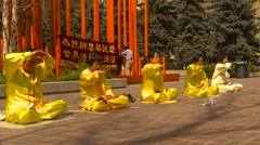 Religion & faith, Falun Dafa (Falun Gong), practicing, wide shot, #4 Stock Footage