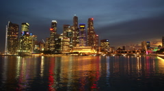 Singapore business district harbour - stock footage