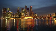Singapore business district harbour Stock Footage