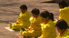 Religion & faith, Falun Dafa (Falun Gong), practicing, wide shot, #5 Stock Footage
