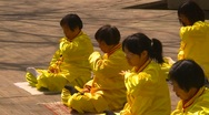 Stock Video Footage of Falun Dafa (Falun Gong), practicing, wide shot, #5