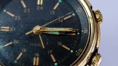 Antique gold wristwatch with moving second hand Stock Footage