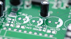 Printed circuit board with radio components rotates counterclockwise Stock Footage