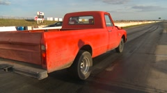 motorsports, drag racing, old beat-up chev pickup launch - stock footage