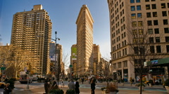 New York Flatiron Building Time-lapse Cars Pedestrians Traffic – 480x270 Stock Footage