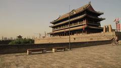 Cyclists on the Xian city wall, XI'AN, China 2 Stock Footage