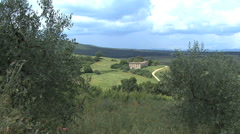 Tuscany farmhouse in distance Stock Footage