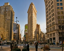 New York Flatiron Building Time-lapse Cars Pedestrians Traffic – PAL Stock Footage