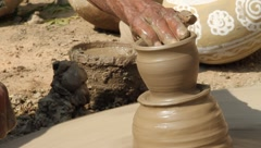 Indian potter Rajasthan close up Stock Footage