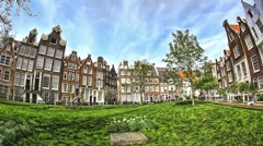 The Begijnhof, one of the oldest inner courts in the city of Amsterdam, HDR Stock Footage
