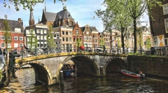 Stock Video Footage of Streets, canals, bridges, buildings, boats in Amsterdam, Holland, HDR