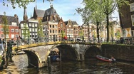 HDR video of street with canals and buildings in Amsterdam Stock Footage