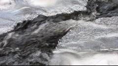 Winter stream flowing under ice 2 Stock Footage