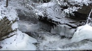 Stock Video Footage of Winter waterfall 1