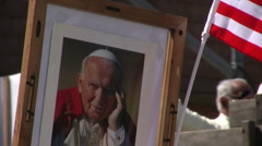 Pope John Paul II - Immigration march and rally Stock Footage