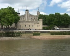Passing the Tower of London from the River Thames, London England GFSD Stock Footage