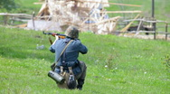 Nazi soldier shooting from rifle Stock Footage
